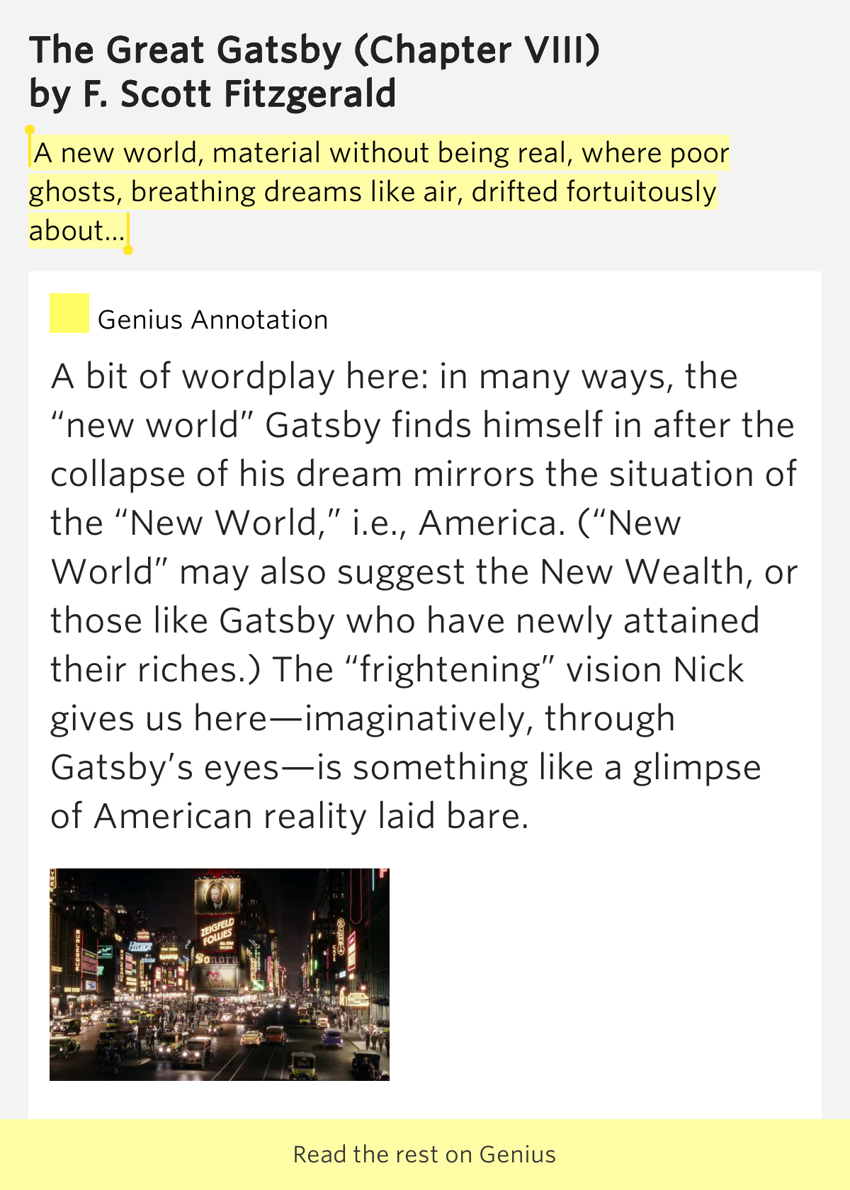 an interpretation of the american dream in the great gatsby a novel by f scott fitzgerald The great gatsby and the american dream but it is telling that even economists think that f scott fitzgerald's masterpiece offers that meaning is clearly.