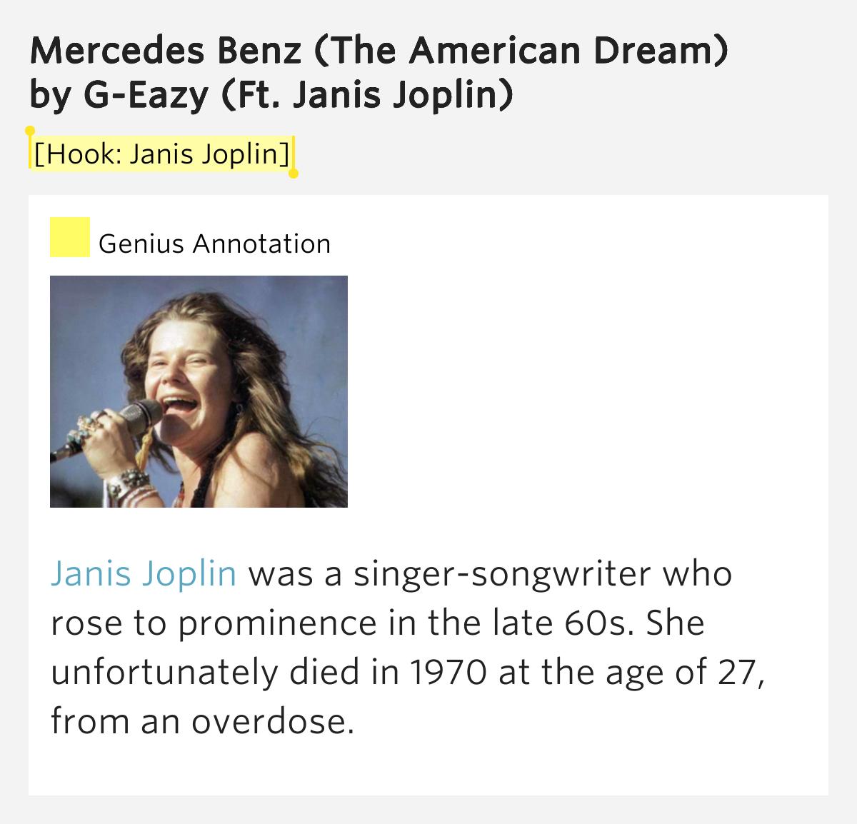 for Janis joplin mercedes benz lyrics