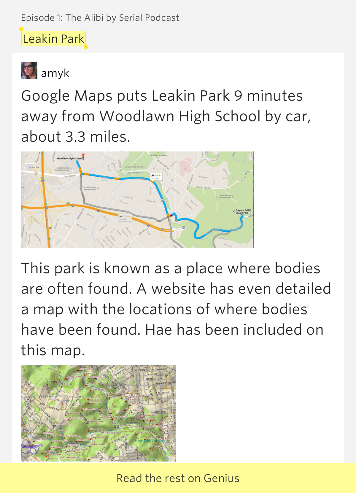 Leakin Park  Episode 1 The Alibi By Serial Podcast