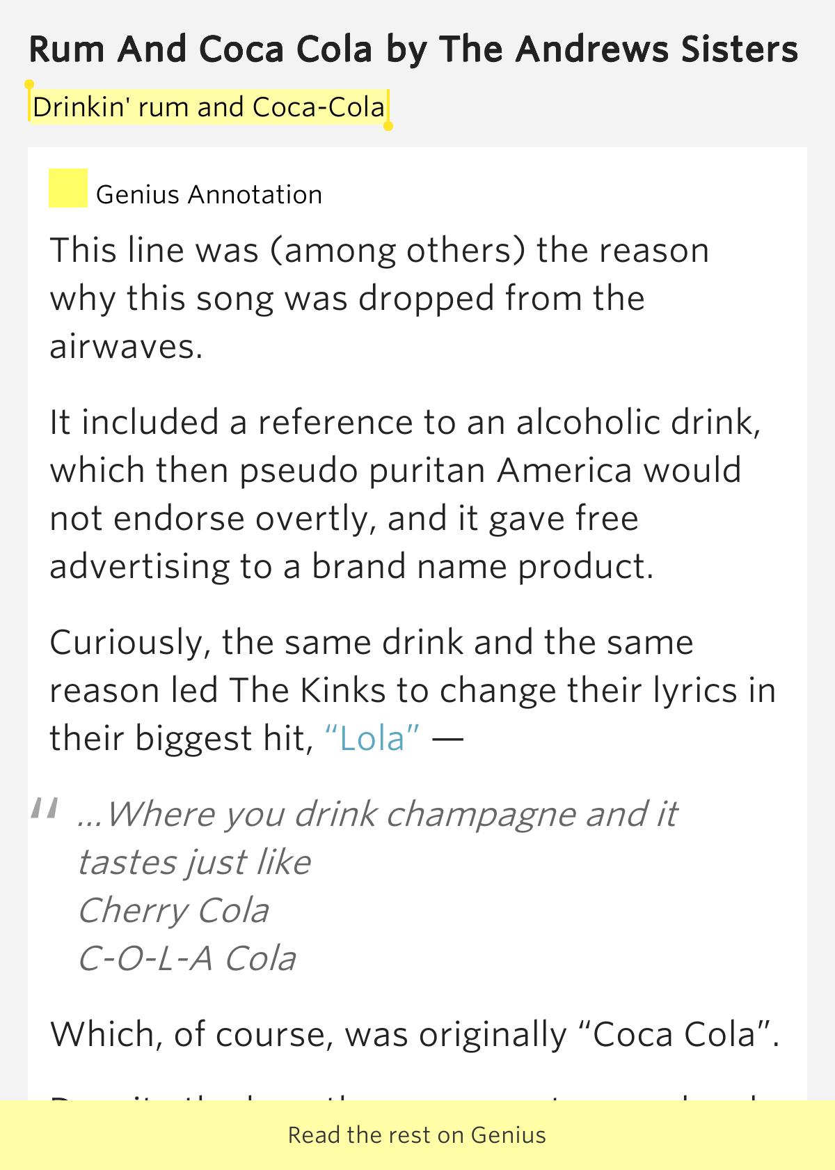 The Andrews Sisters – Rum and Coca Cola Lyrics - Genius