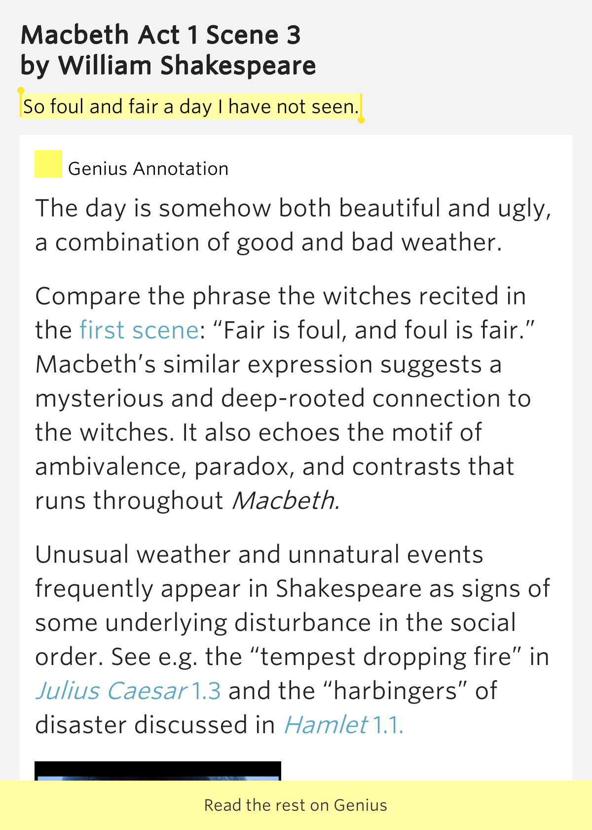 the theme of fair is foul and foul is fair in macbeth by william shakespeare Fair is foul and foul is fair: determine a theme or central idea of a text and analyze in detail its macbeth, literature, william shakespeare, character.