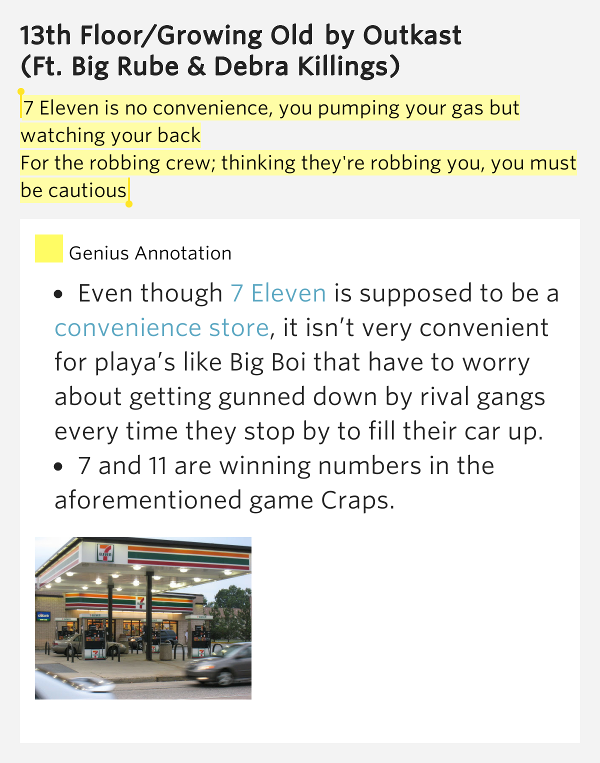 7 eleven is no convenience you pumping 13th floor for 13th floor growing old