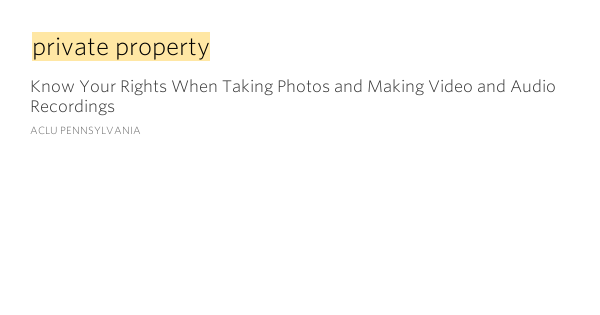 Private property – Know Your Rights When Taking Photos and ...