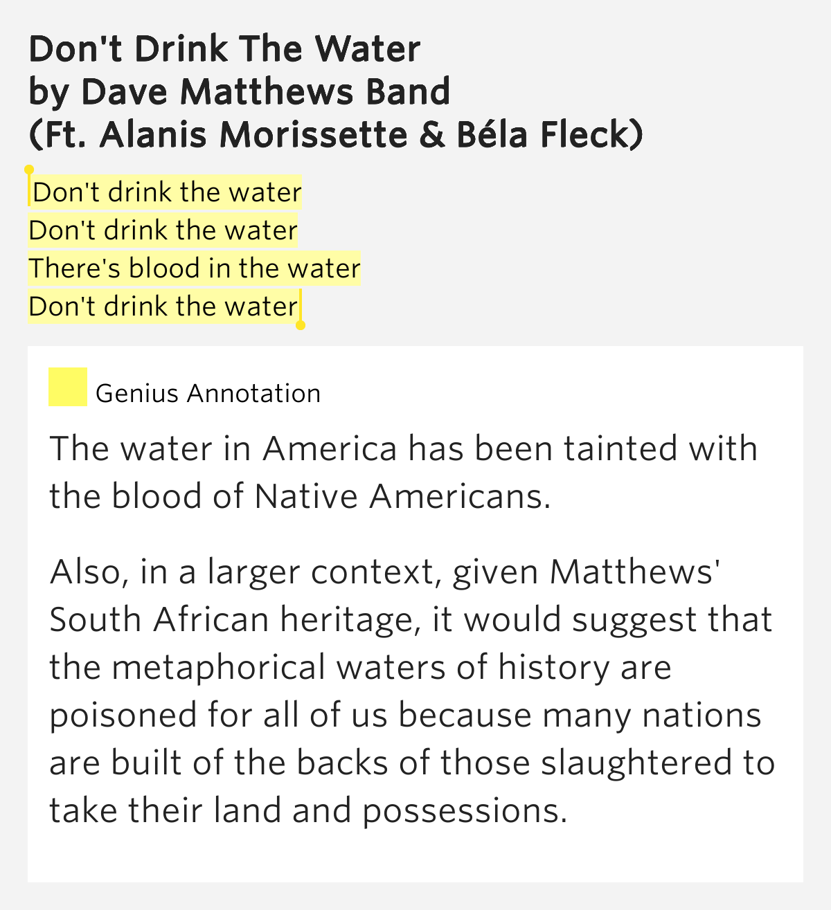 Dave Matthews Alanis Morissette Don T Drink The Water