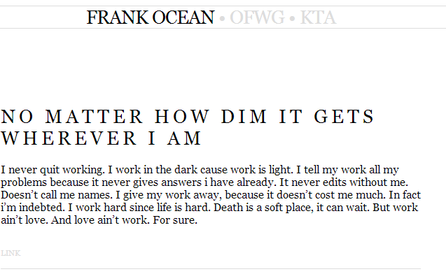 Frank Ocean – Tumblr post on.. – Tumblr post on Perseverance