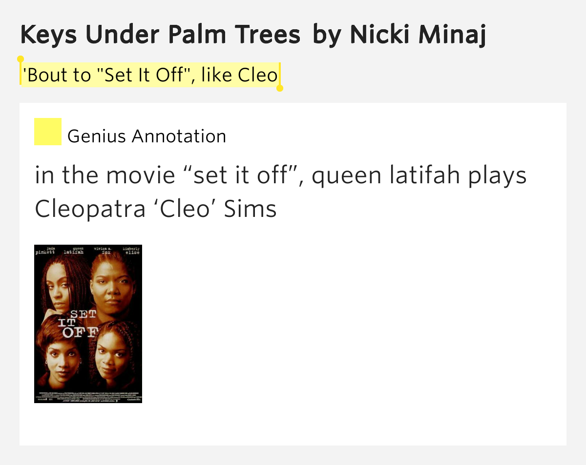 Nicki minaj keys under palm trees lyrics