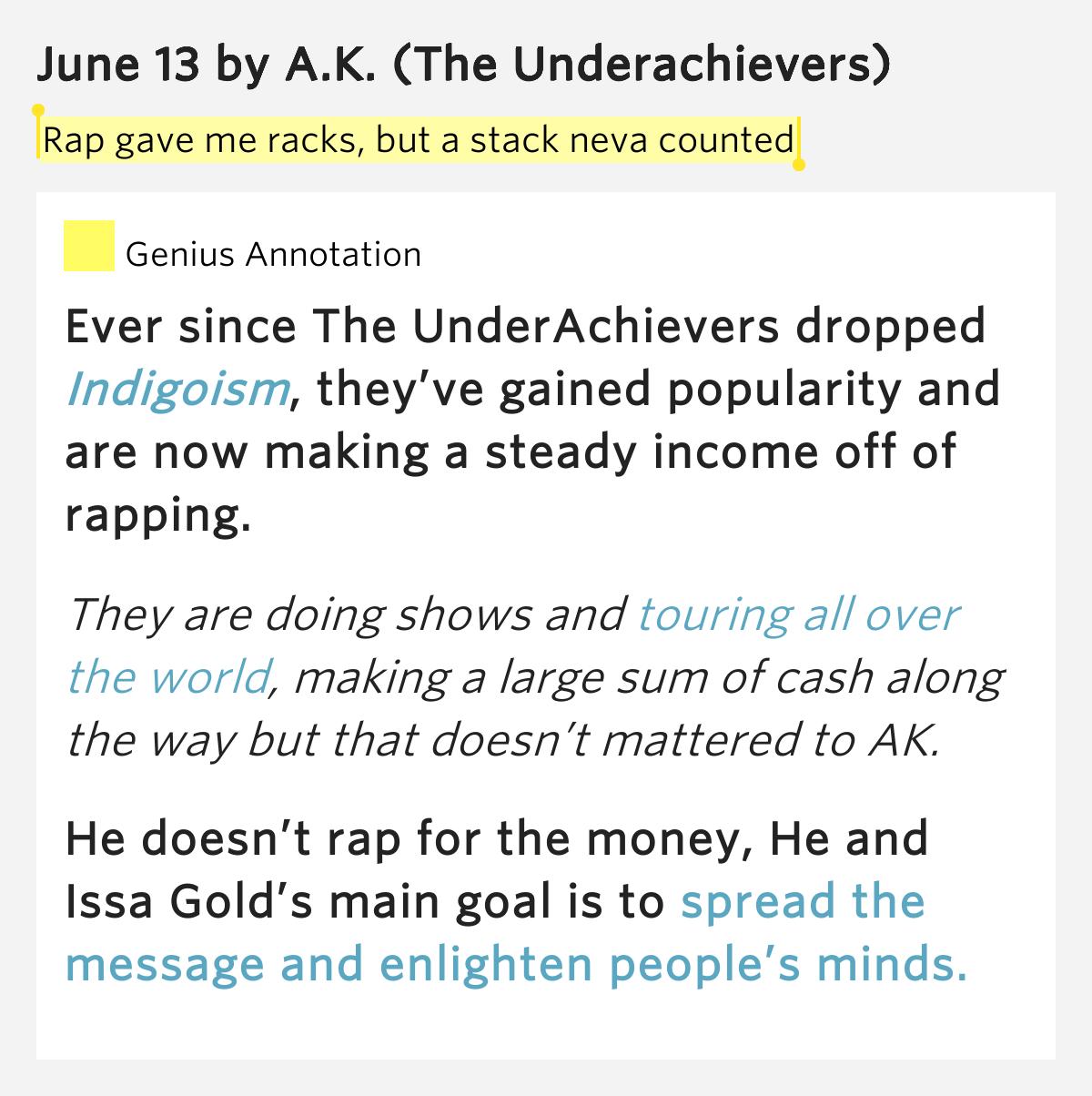 Racks on lyrics meaning