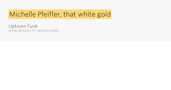 Michelle pfeiffer that white gold uptown funk by mark ronson