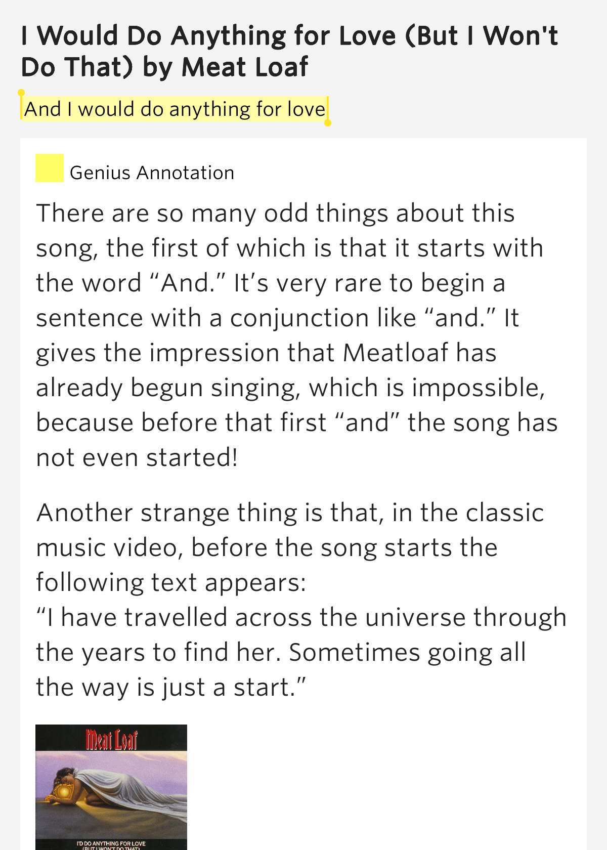 Meat Loaf Song Lyrics   MetroLyrics