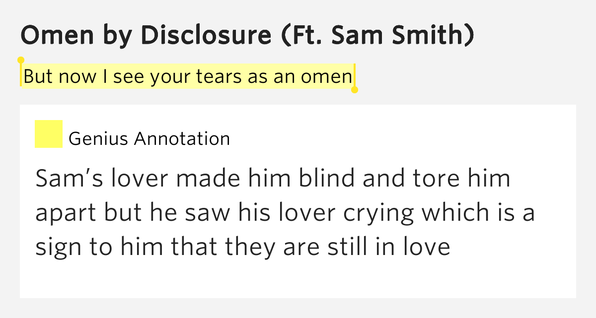 But now i see your tears as an omen omen lyrics meaning for Portent meaning