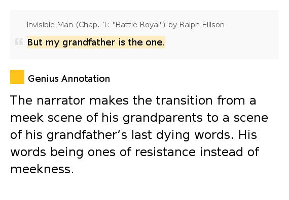But My Grandfather Is The One.