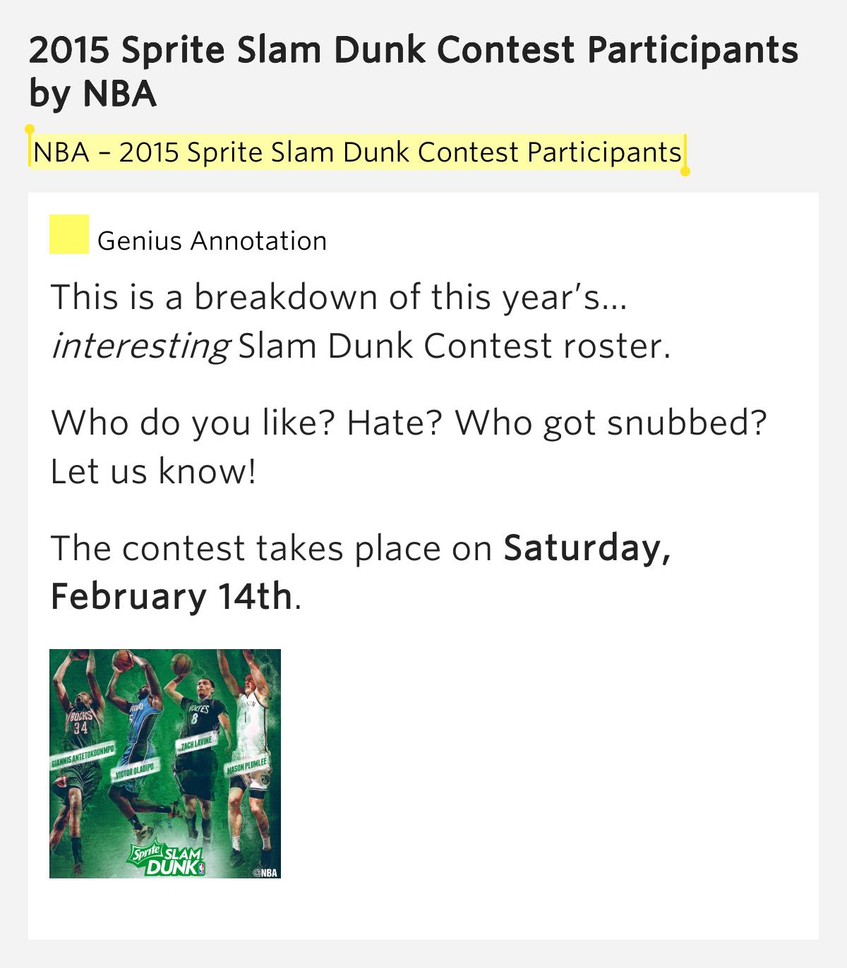 2015 Sprite Slam Dunk Contest Participants