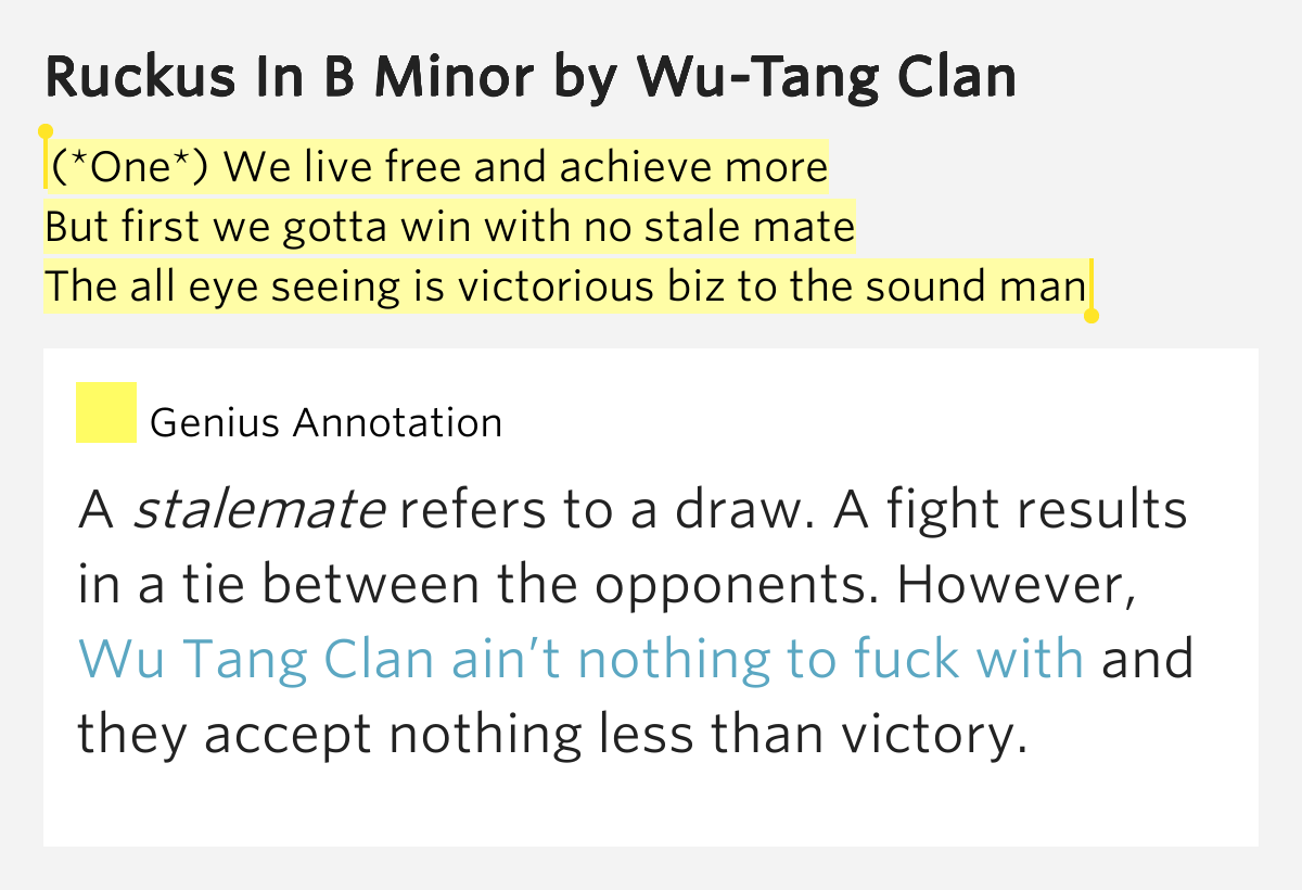 Wu tang clan aint nuthin to fuck wit lyrics