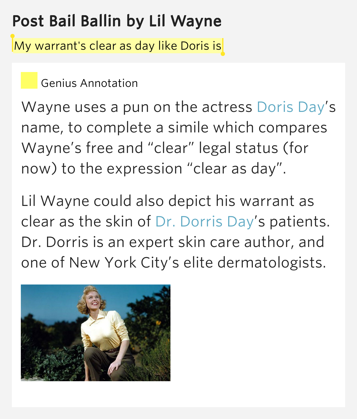 Post Meaning: My Warrant's Clear As Day Like Doris Is