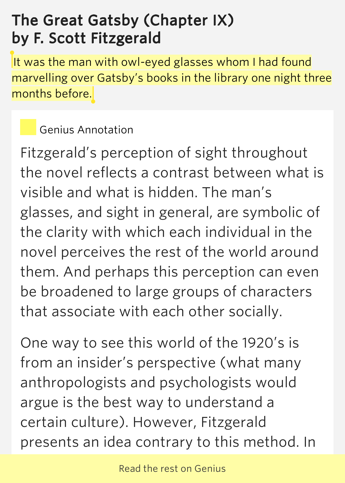 the juxtaposition of klipspringer and owl eyes in the great gatsby by f scott fitzgerald Cyberhunt- great gatsby  the great gatsby is a novel by american author f scott fitzgerald  myrtle wilson, george wilson, owl eyes, klipspringer and meyer.
