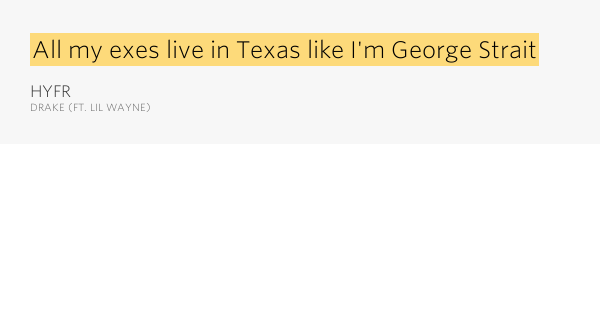 All my exes live in texas lyrics drake
