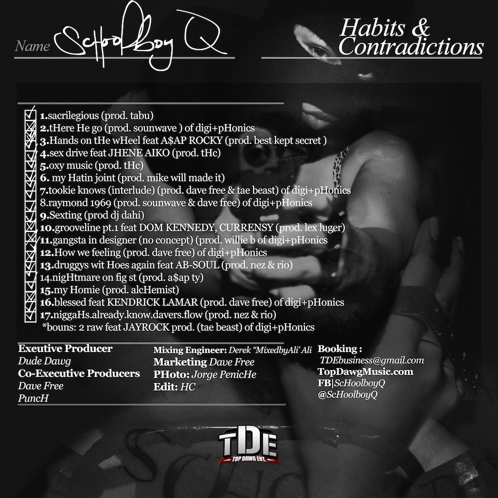 ScHoolboy Q – Habits & Contradictions - Album Art Lyrics ...