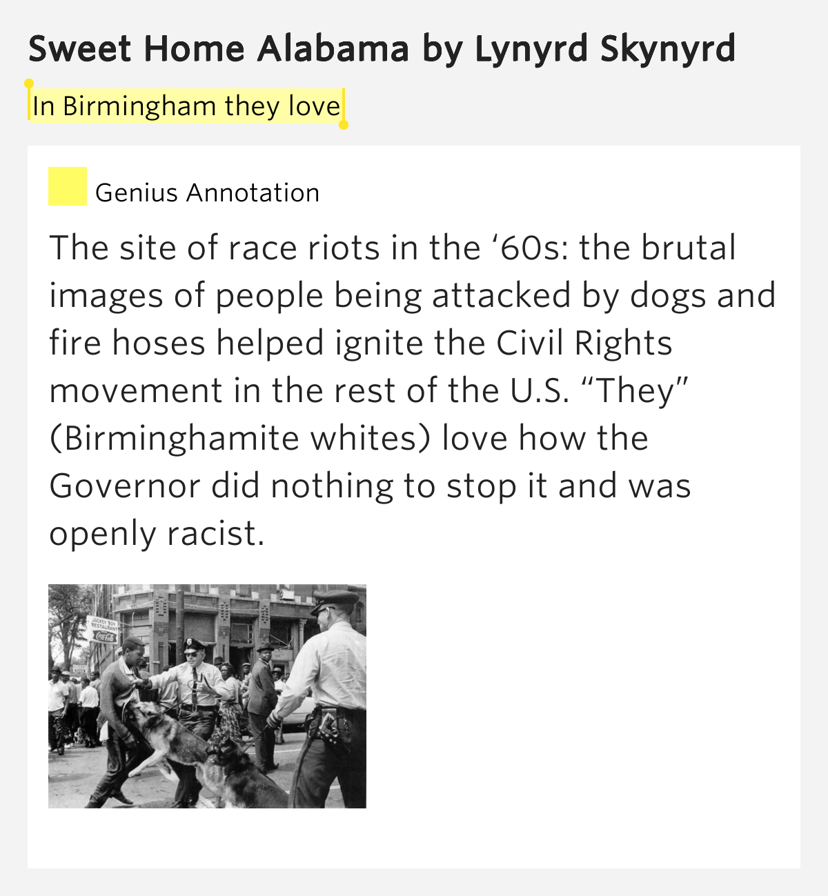 In birmingham they love sweet home alabama lyrics meaning for Who sang the song sweet home alabama
