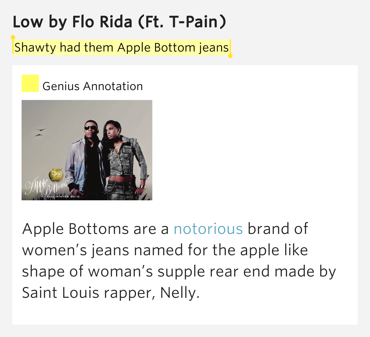 lyrics flowriders jeans apple bottom