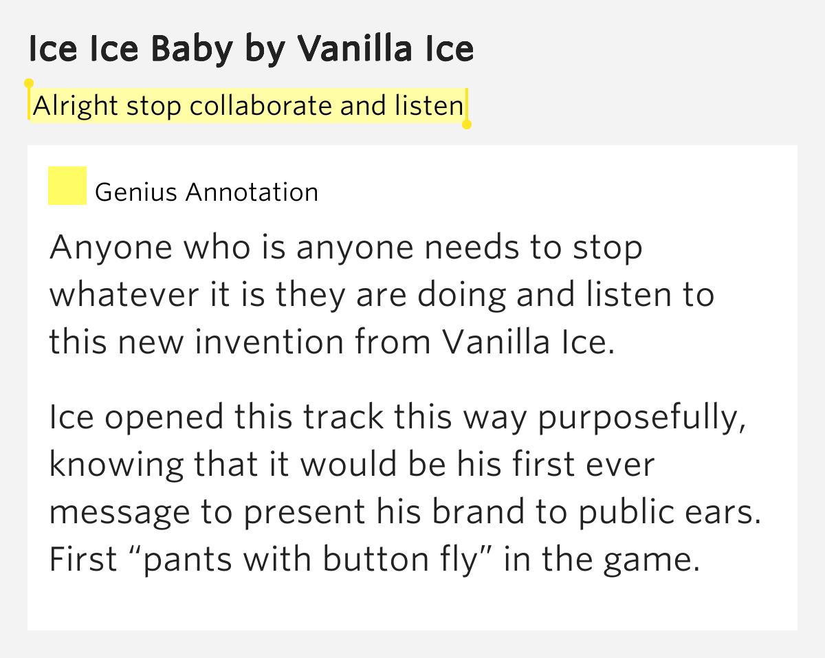 Alright stop collaborate and listen – Ice Ice Baby Lyrics ...