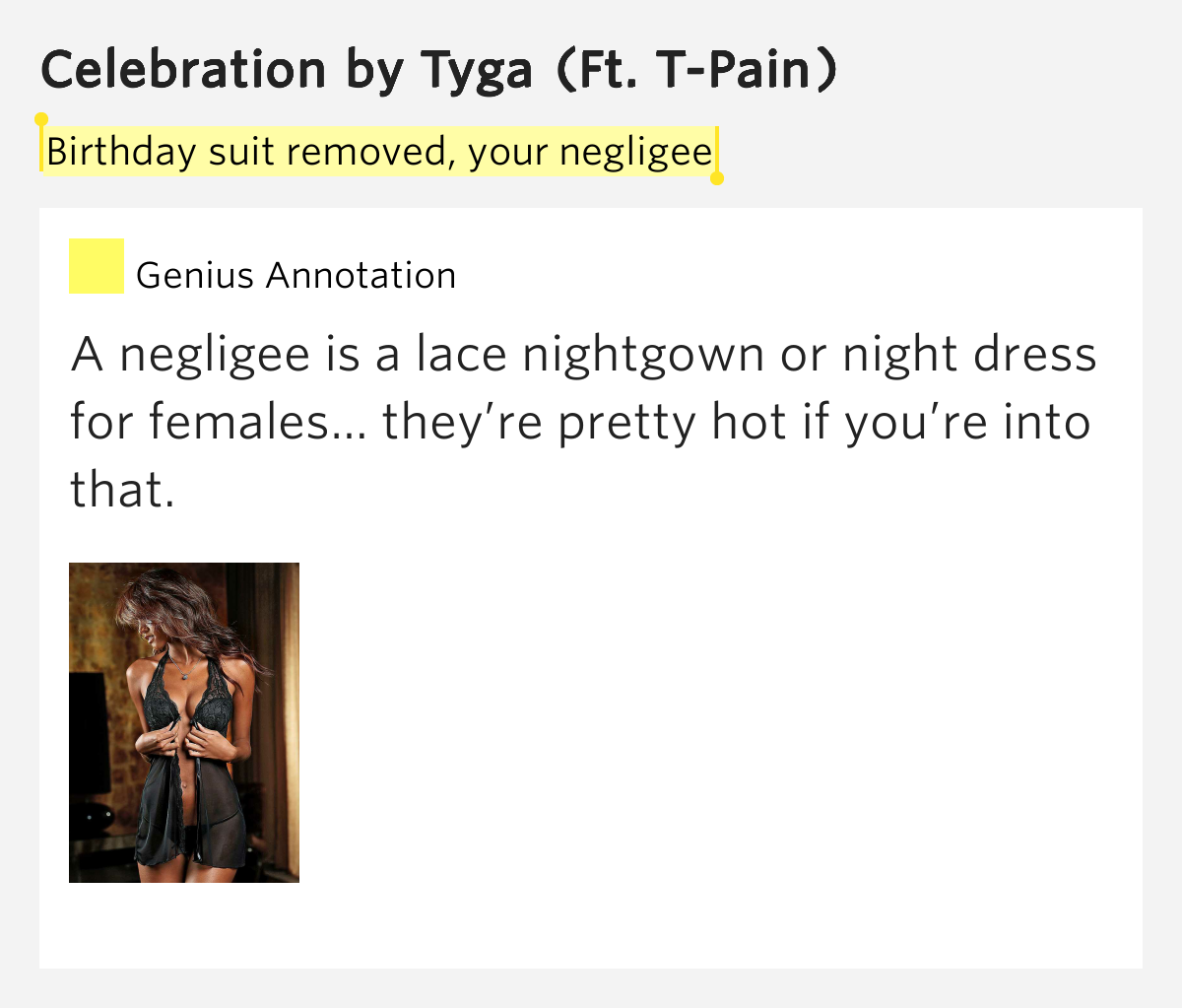 Birthday Suit Removed, Your Negligee