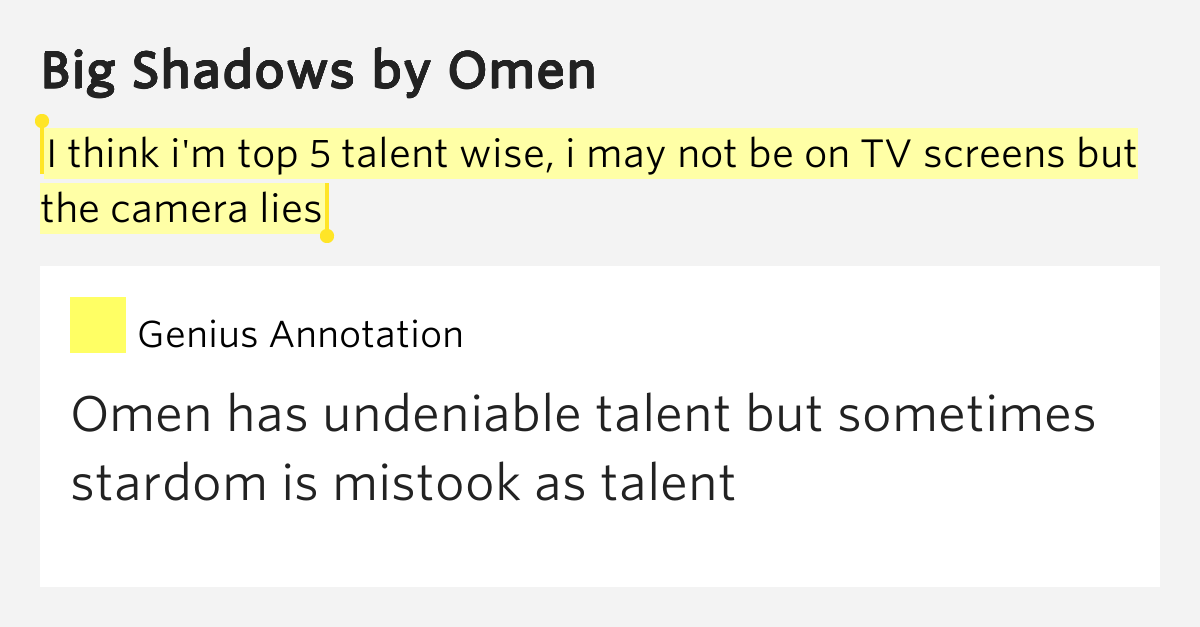I think i 39 m top 5 talent wise i may not be on tv screens for Portent meaning