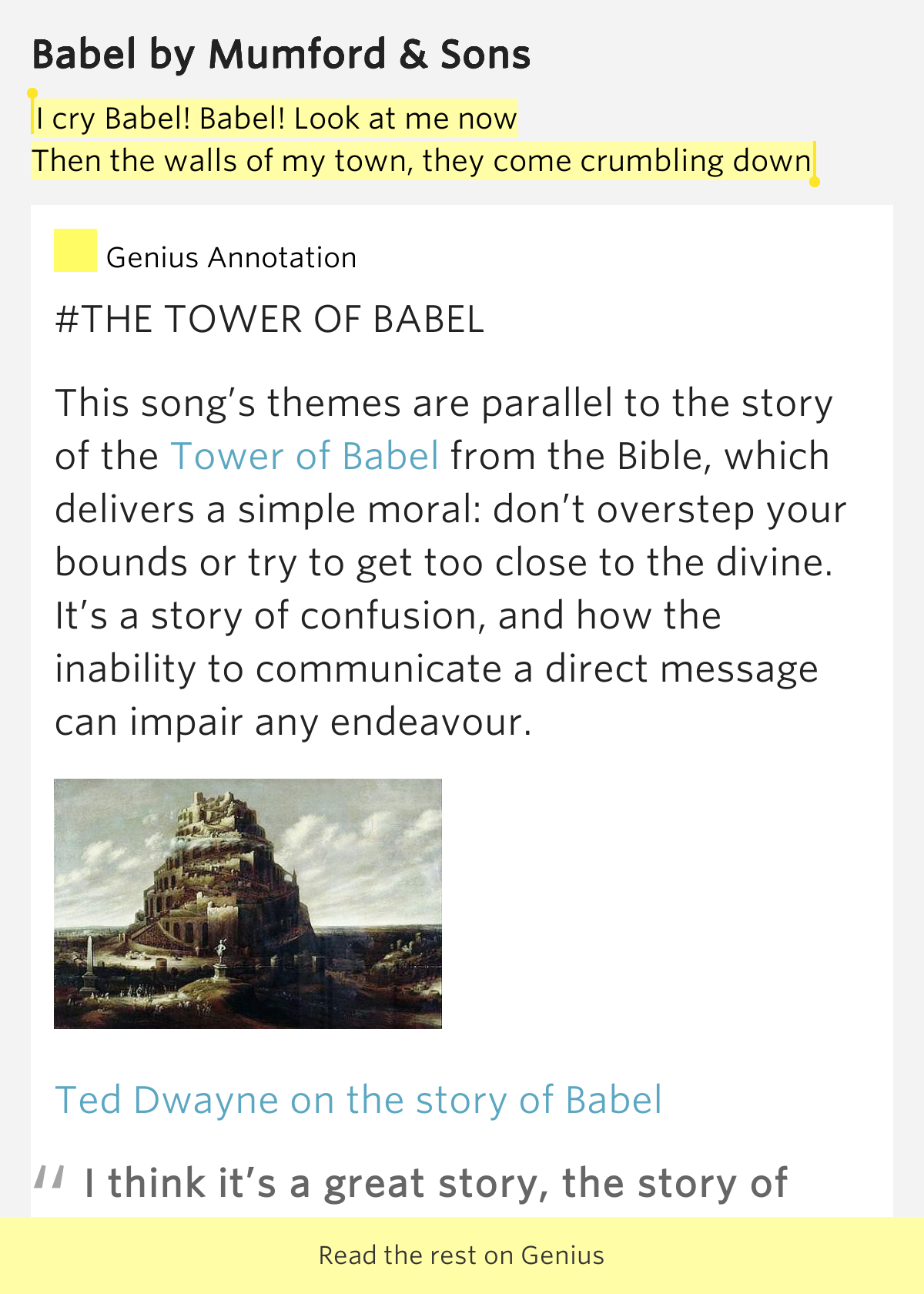 I cry Babel! Babel! Look at me now / Then the walls of my ...