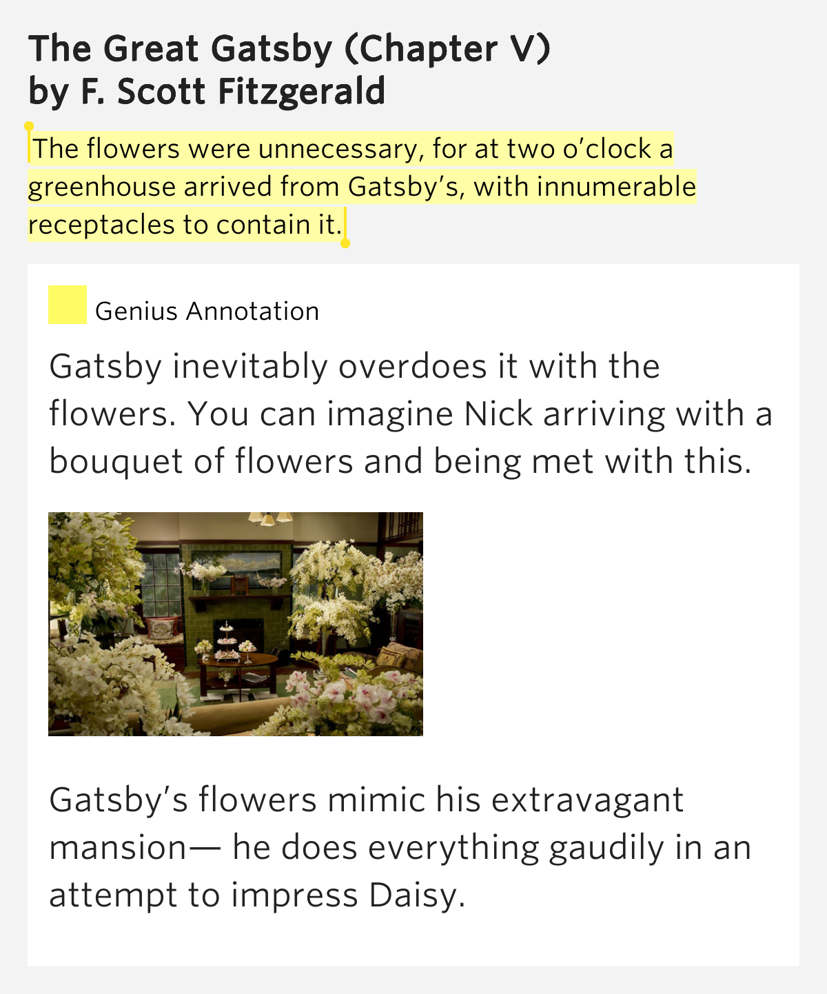 the great gatsby by fitzgerald chapter Start studying the great gatsby (study guide) chapter 1-9 peyton godden learn vocabulary, terms, and more with flashcards, games, and other study tools.