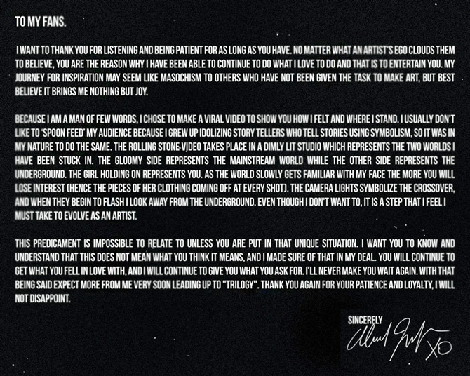 The Weeknd Open Letter To Fans Lyrics