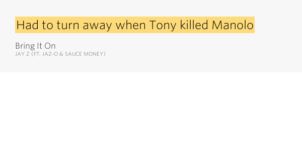 Had To Turn Away When Tony Killed Manolo Bring It On By