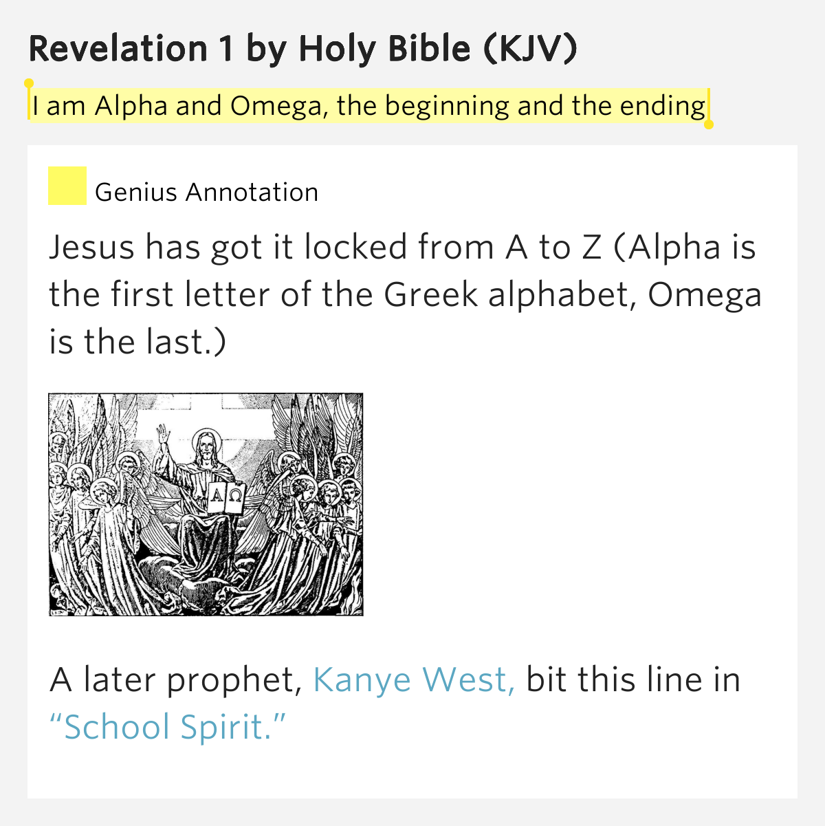 I Am Alpha And Omega, The Beginning And The Ending