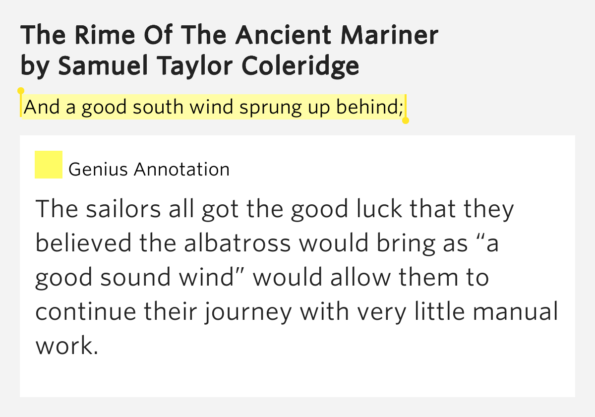 """a sailors spiritual journey in the rime of the ancient mariner by samuel taylor coleridge Part i it is an ancient mariner and he stoppeth one of three --""""by thy long grey  beard and glittering eye, now wherefore stoppest thou me the bridegroom's."""