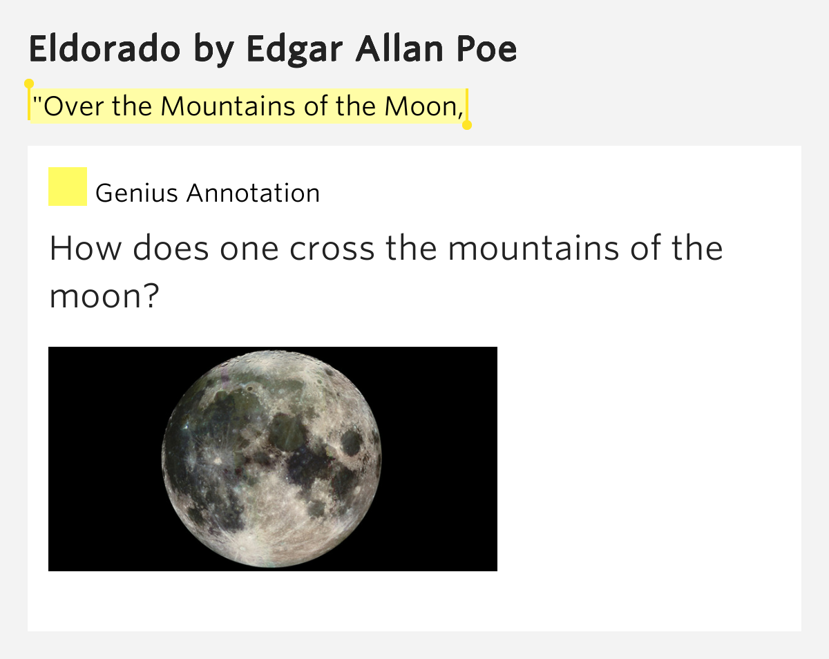 an analysis of eldorado by edgar allan poe This poem by edgar allan poe, first published just six months before his death,   goal – in this instance the legendary city of gold, eldorado.
