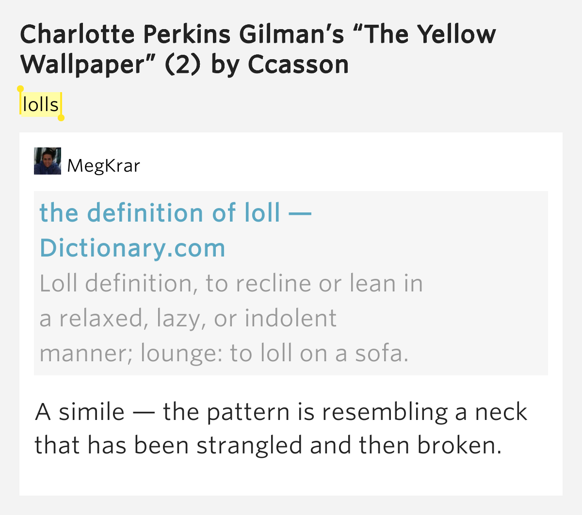 symbolism in the yellow wallpaper by charlotte perkins gilman In the short story, the yellow wallpaper by charlotte perkins gilman, there are  several examples of symbolism in a story that seems to be.