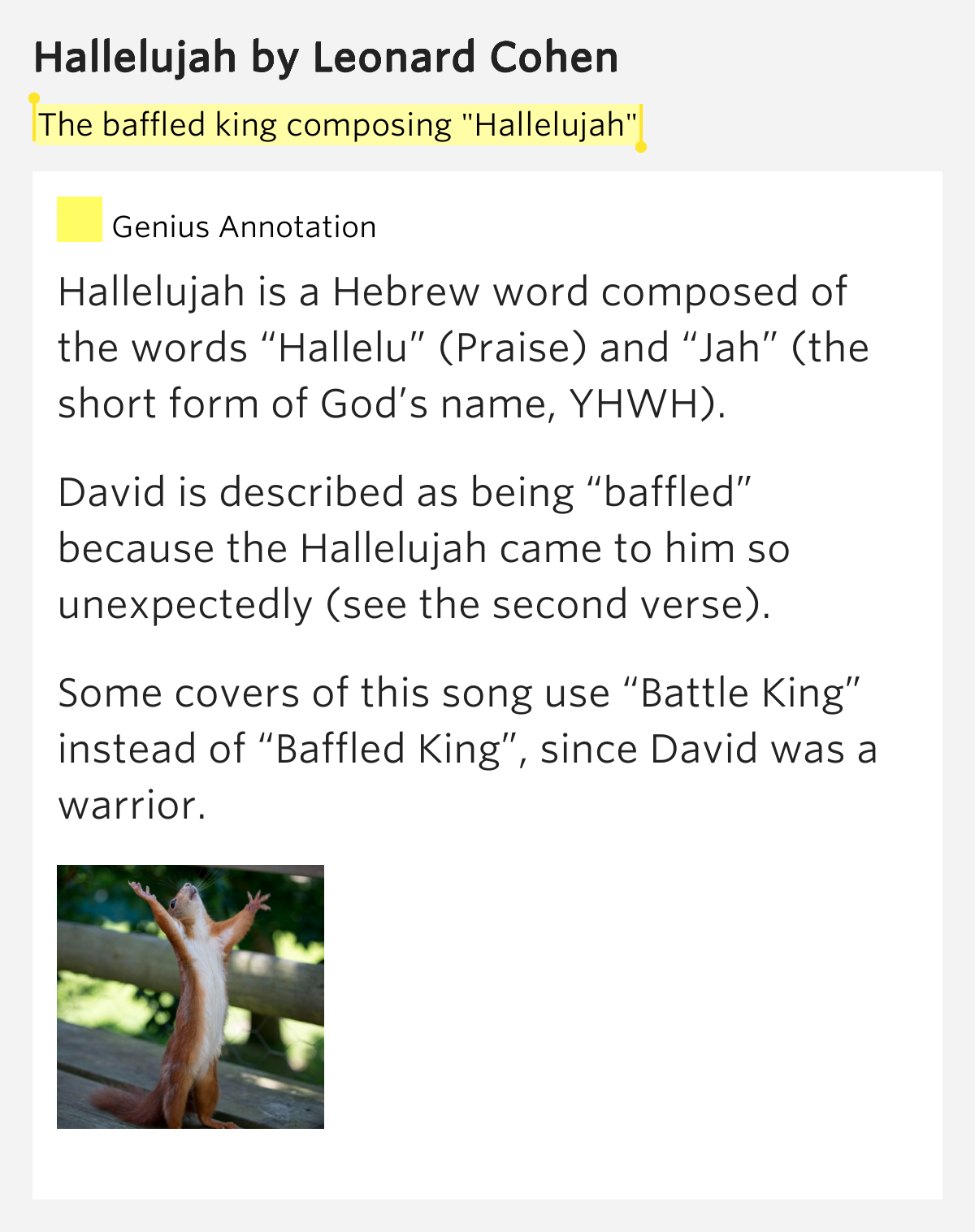 "The baffled king composing ""Hallelujah"" – Hallelujah Lyrics Meaning"