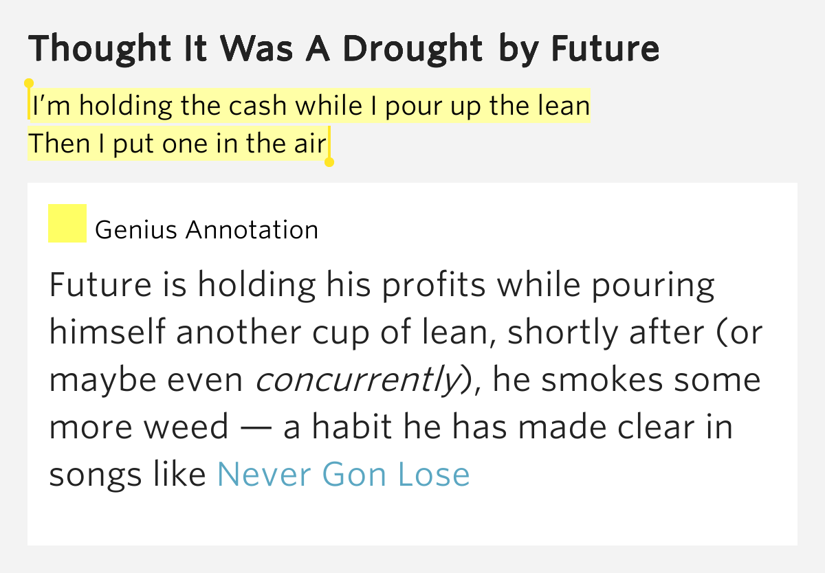Then i put one in the air thought it was a drought lyrics meaning