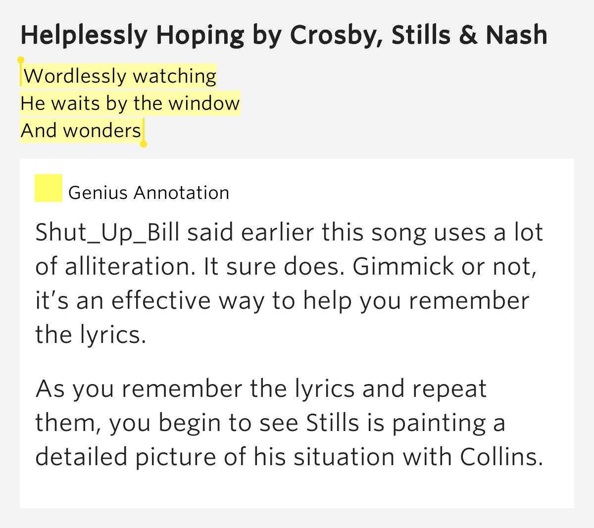 Helplessly Hoping lyrics by Crosby, Stills & Nash, 2 ...