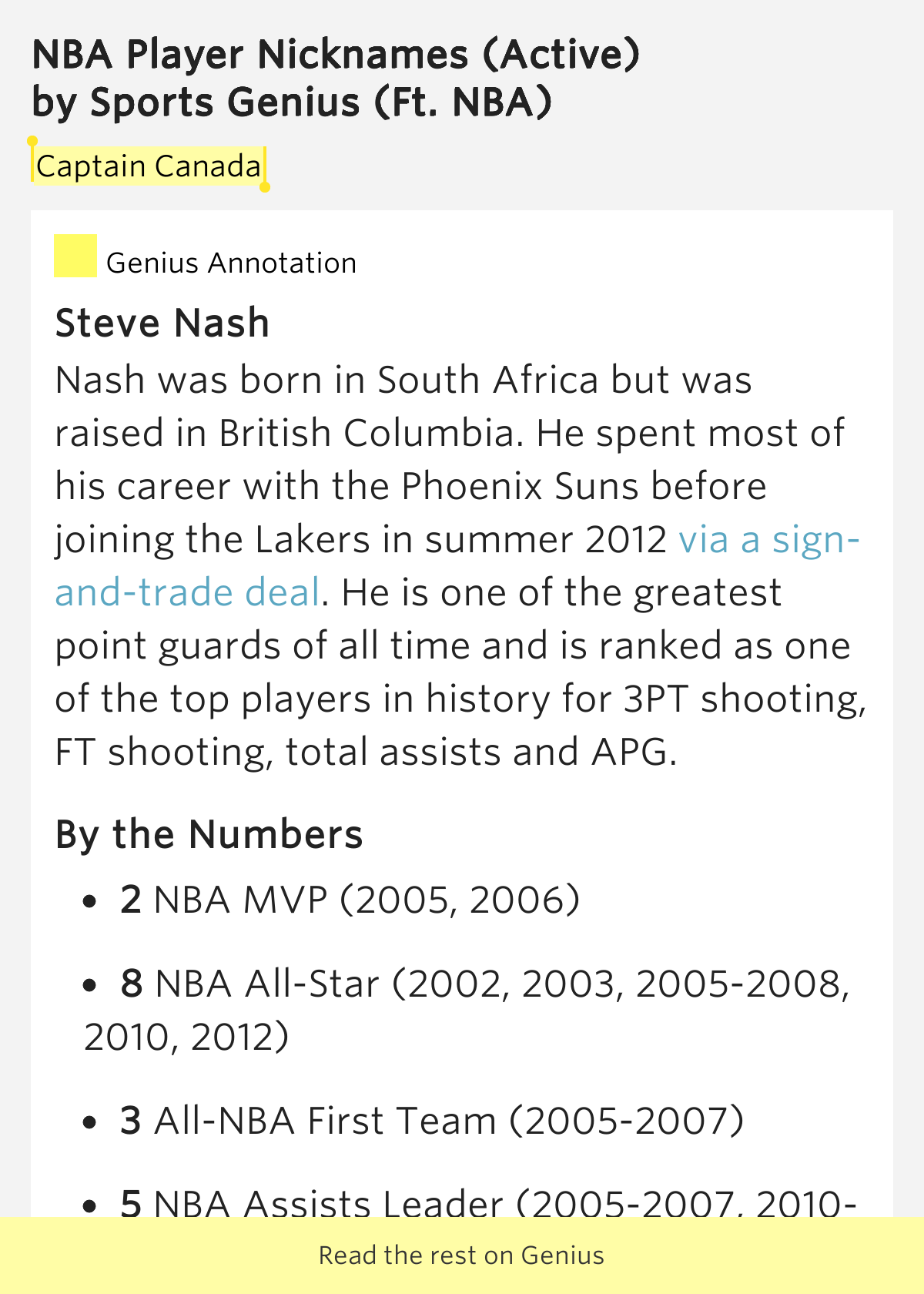 Captain Canada – NBA Player Nicknames (Active) by Sports ...