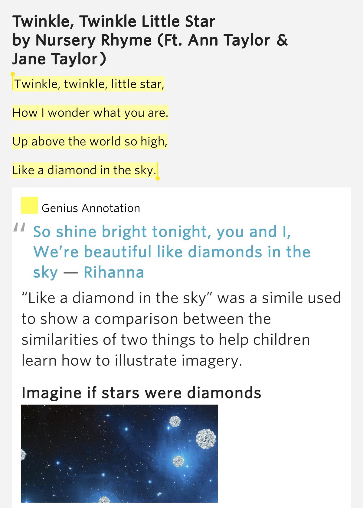 So beautiful like diamonds in the sky lyrics