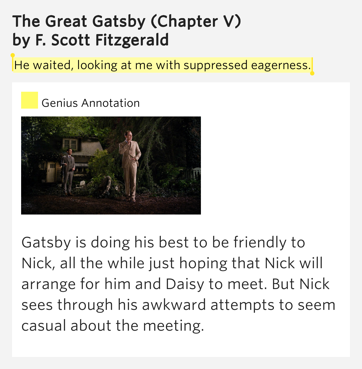 he waited looking at me with the great gatsby chapter v