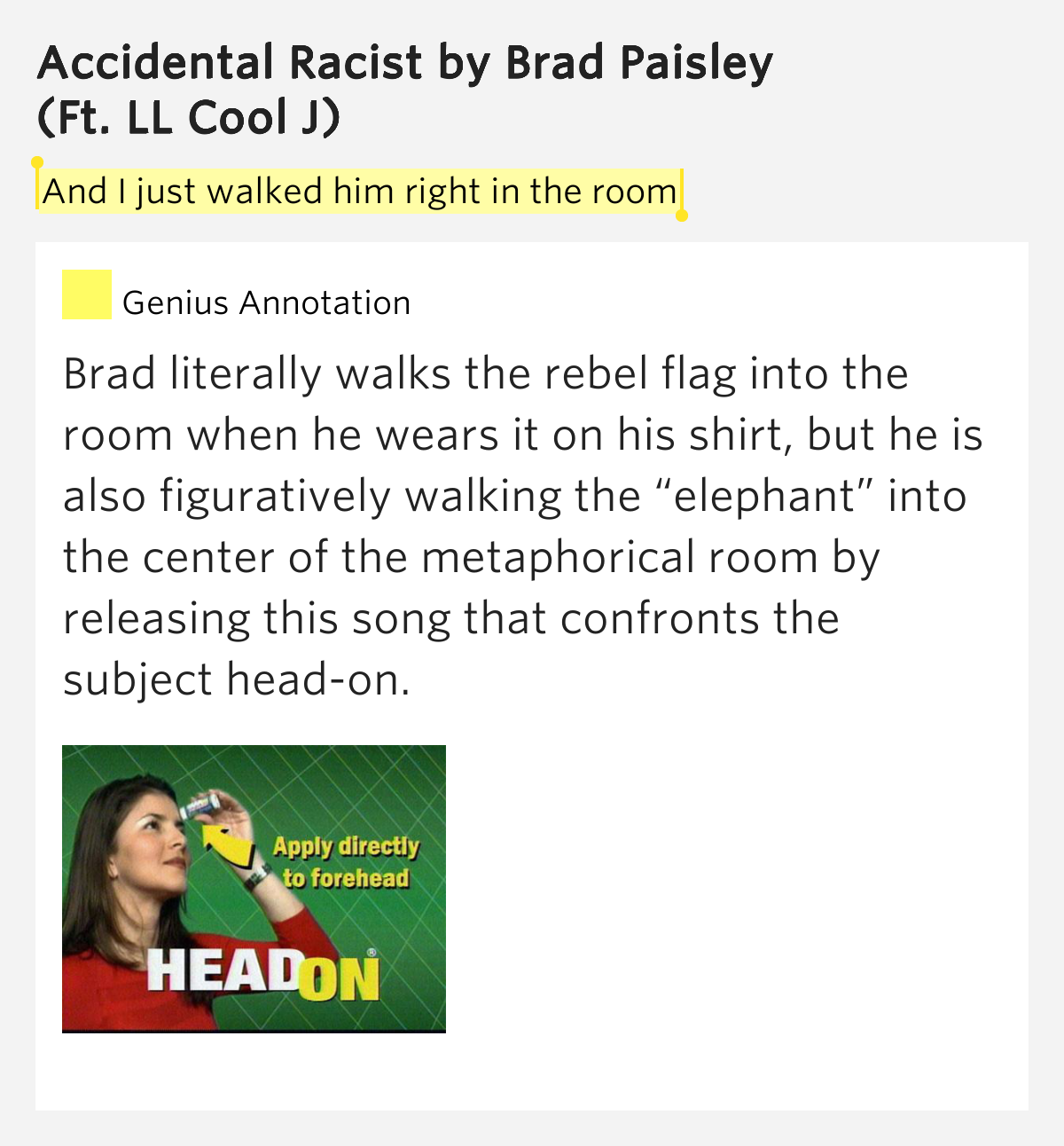 Brad Paisley - Accidental Racist Lyrics | MetroLyrics