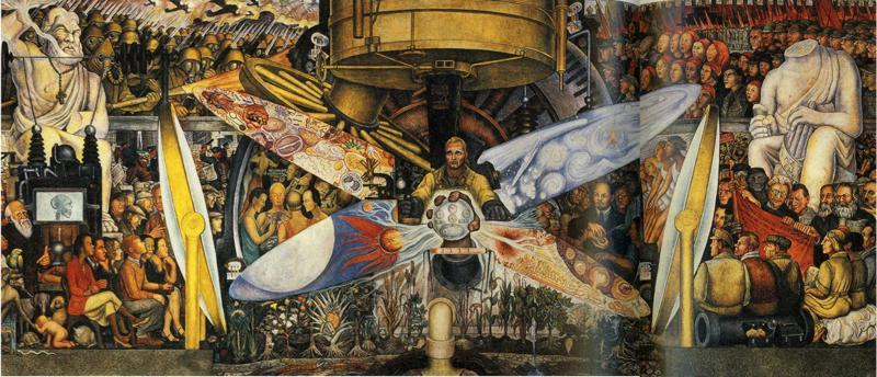 Diego rivera man at the crossroads genius for Diego rivera creation mural