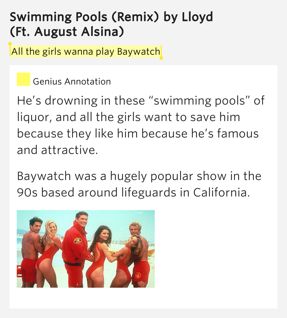 All The Girls Wanna Play Baywatch Swimming Pools Remix By Lloyd