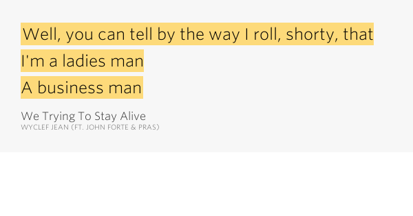 We trying to stay alive wyclef jean lyrics