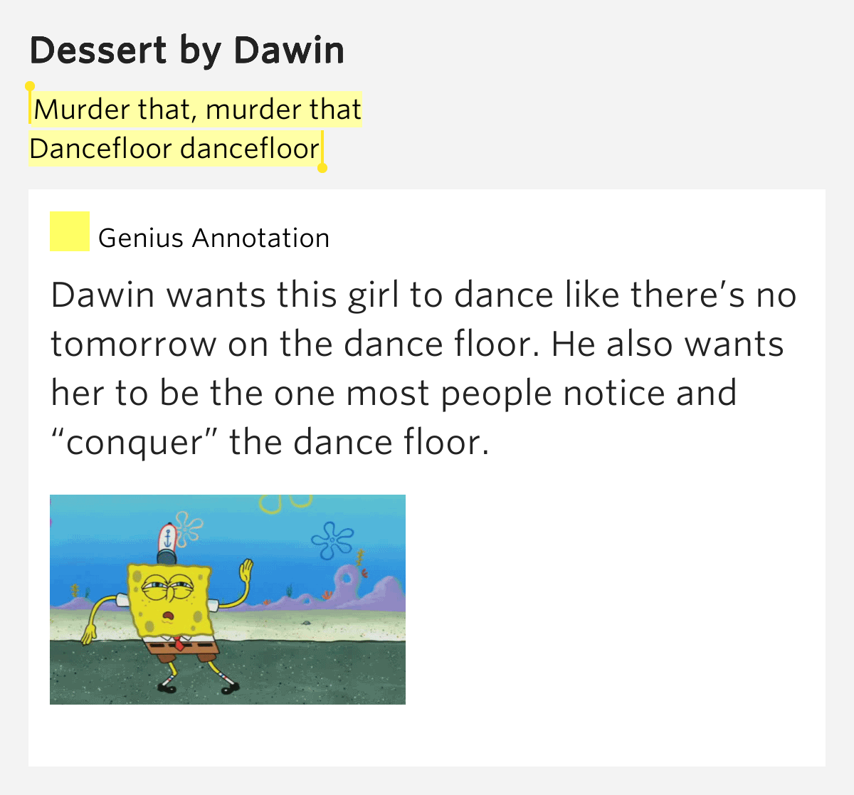 Murder that murder that dancefloor dancefloor dessert for On the floor meaning