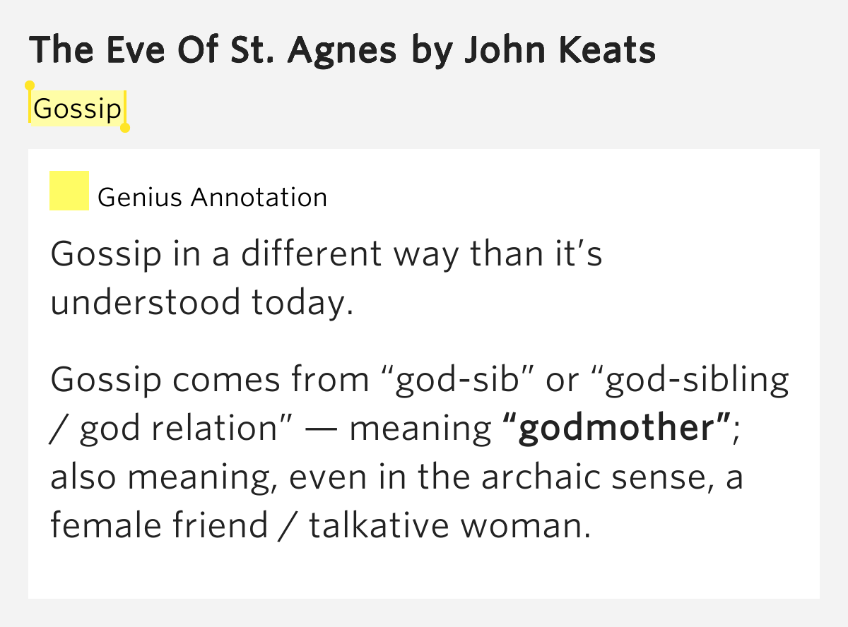 an analysis of the eve of st agnes Splendid language, sharply etched setting, and vivid mood--the eve of st agnes has them all essays of society or general analysis,.