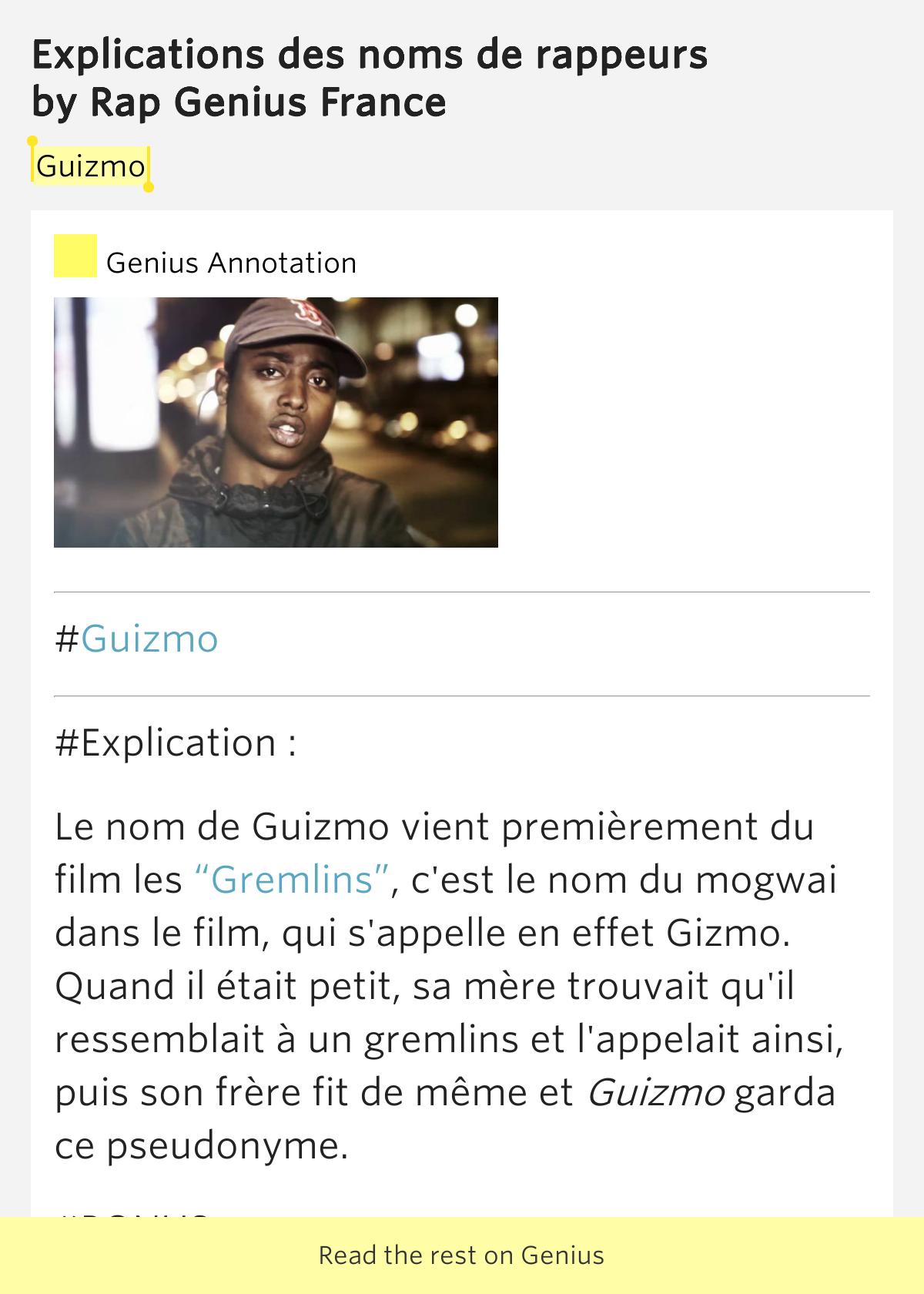 guizmo explications des noms de rappeurs lyrics meaning. Black Bedroom Furniture Sets. Home Design Ideas