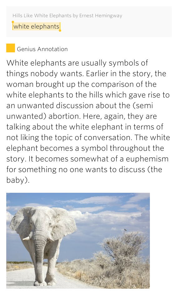 an analysis of hills like white elephants by ernest hemingway During the 1920's hills like white elephants, a short story by ernest hemingway, presents many interesting insights into relationships between men and women from the era when it was written.