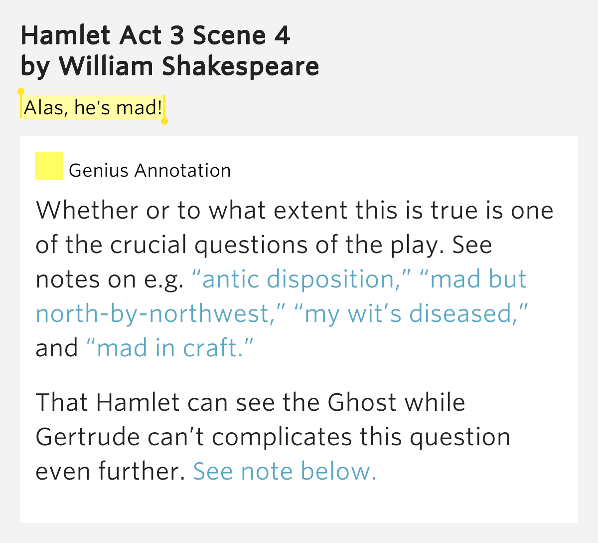 Alas, he's mad! – Hamlet Act 3 Scene 4 by William Shakespeare