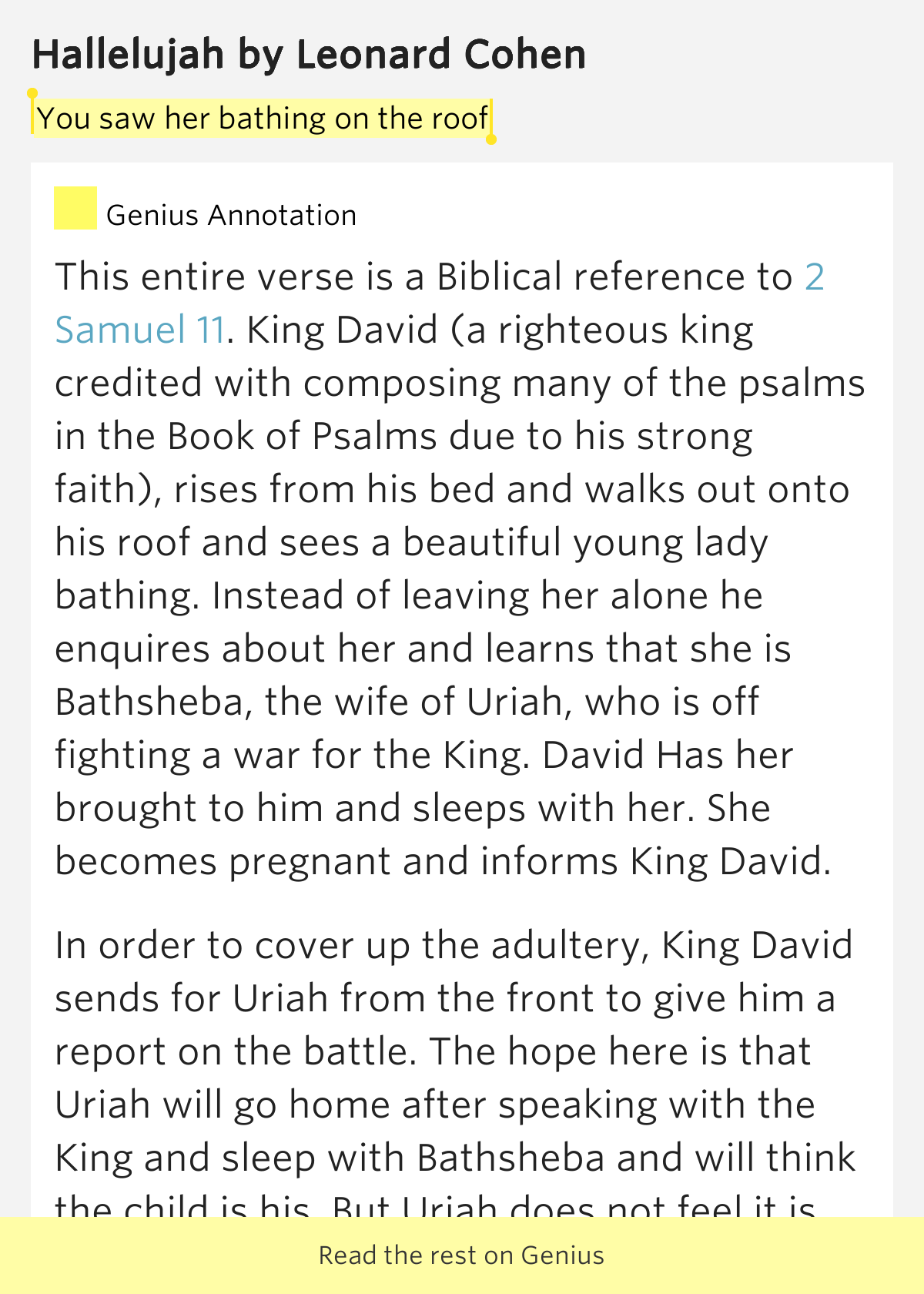 You Saw Her Bathing On The Roof Hallelujah Lyrics Meaning